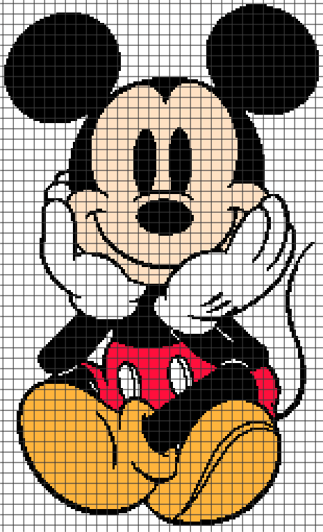 Mickey Mouse Sitting (Graph AND Row-by-Row Written Crochet Instructions) - 09 - YarnLoveAffair.com