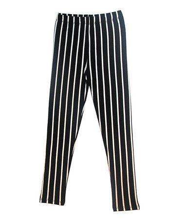 Black & White Pinstripe Leggings - Girls by Popular #zulily #zulilyfinds