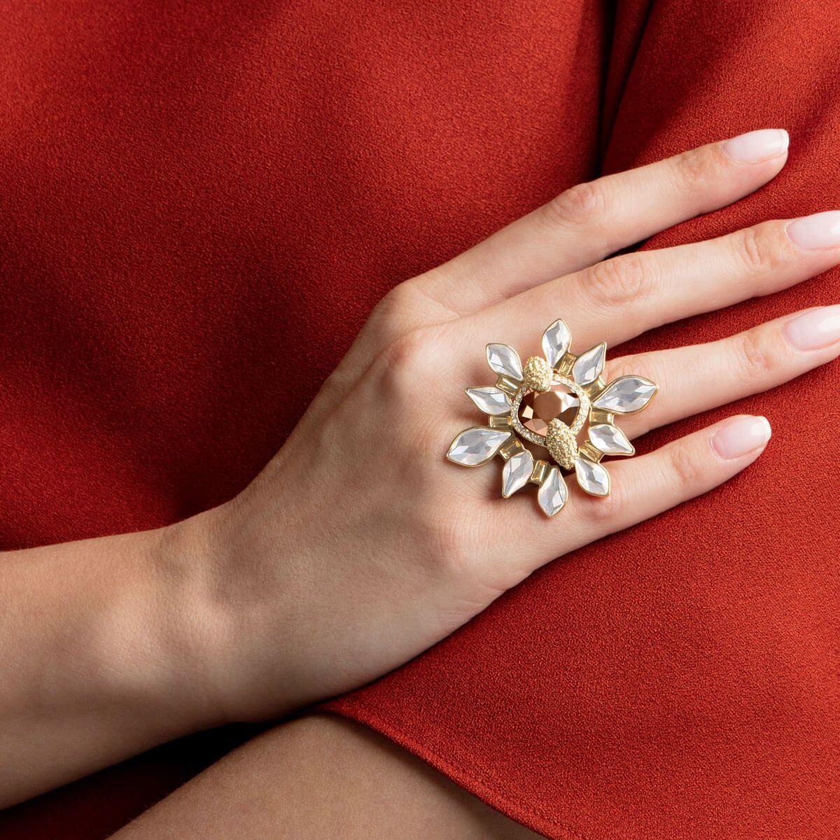 Odysseia Motif Ring Multi Coloured Gold Tone Plated Swarovski Gifts Swarovski Gold Tones
