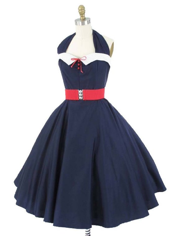 69f5c53fd8a2 50s Inspired Navy Blue Swing Dress-1950s Style Halter Dress-Pin Up-Nautical  Look-Red White and Blue-