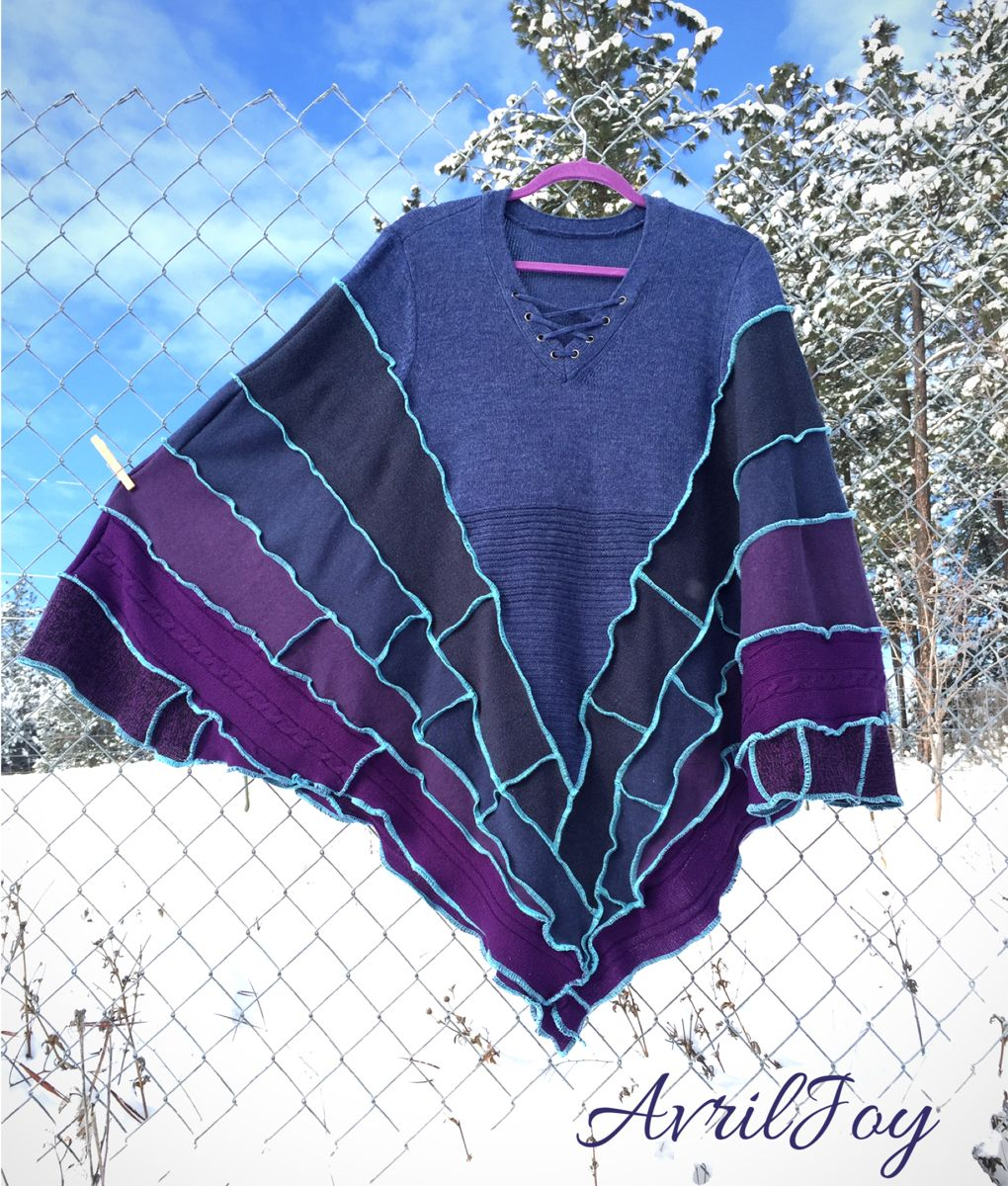 This is a beautiful lightweight Upcycled Sweatercoat Pixie Poncho inspired by Picasso's Blue Period palette. One size fits most. Very loose fitting and super cozy. #sweaterweather #sweaters #sweatercoat #ponchosweater #poncho #pixiecoat #handmade #etsy #etsyfinds #etsyartist #valentinesdaygiftideas #forher #oneofakind #uniquefashion