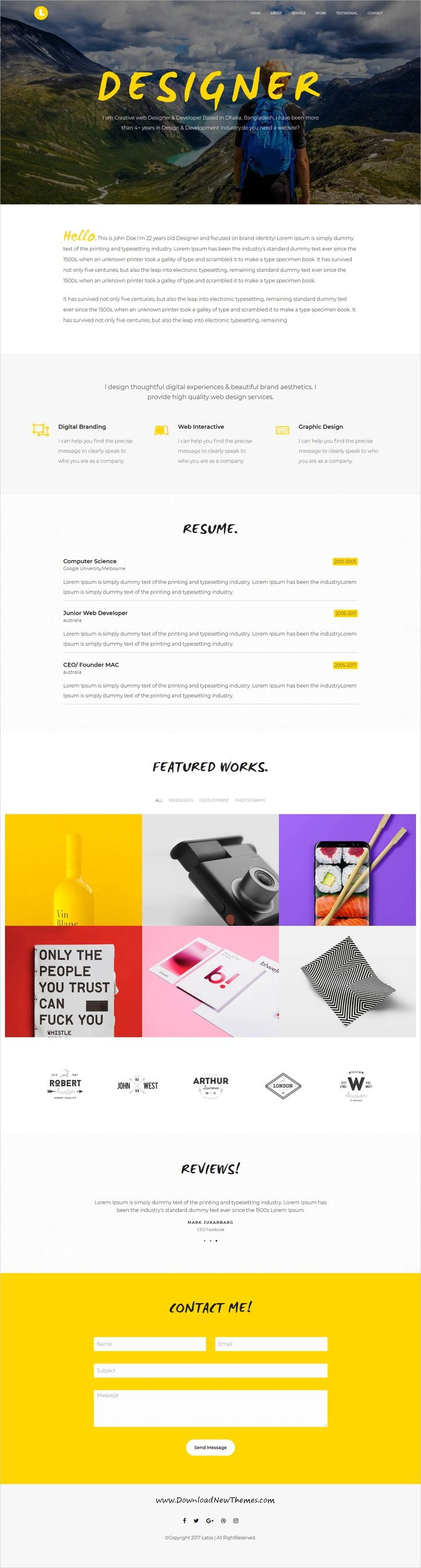 Latos - Creative Personal Portfolio Template | Personal portfolio