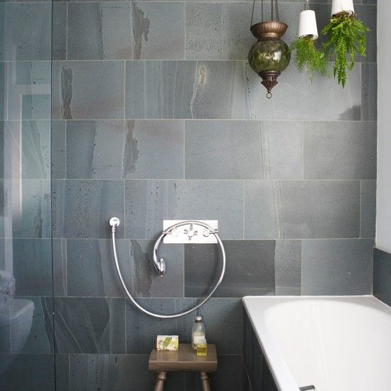 Bathroom with slate tiles Bathroom designs Tiles Image