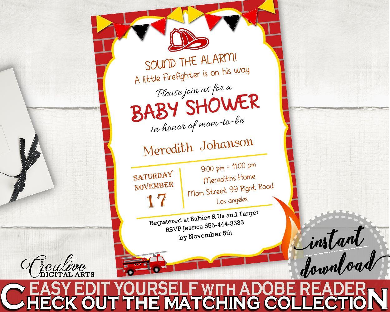 Invitation Baby Shower Invitation Fireman Baby Shower Invitation Red ...