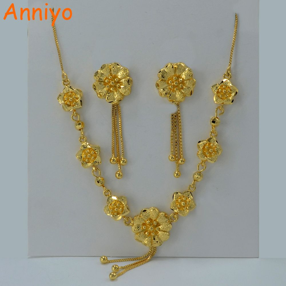 Anniyo beautiful flower set jewelry gold color necklace earrings