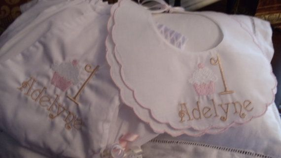 Baby Girl  Double Scalloped Cotton Heriloom Bib and by Zadabug, $30.00