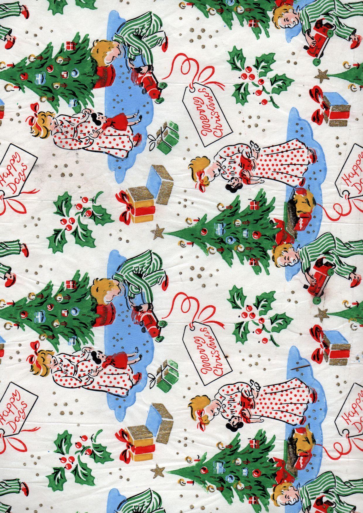 Vintage Christmas Wrap | Vintage christmas wrapping paper ...