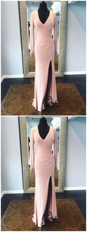 Light pink formal dresses long sleeve modest mother of the bride