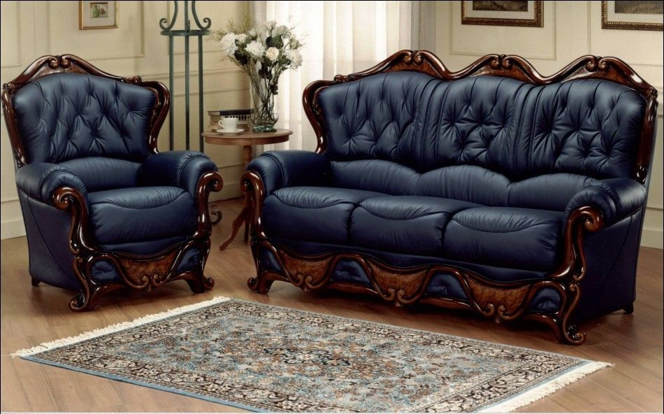 Great Furniture : Excellent Luxury Combination Style Italian Leather Sofa Design  Ideas With Elegant Dark Blue And Wooden Accents Picture   A Part Of  Contemporary ...