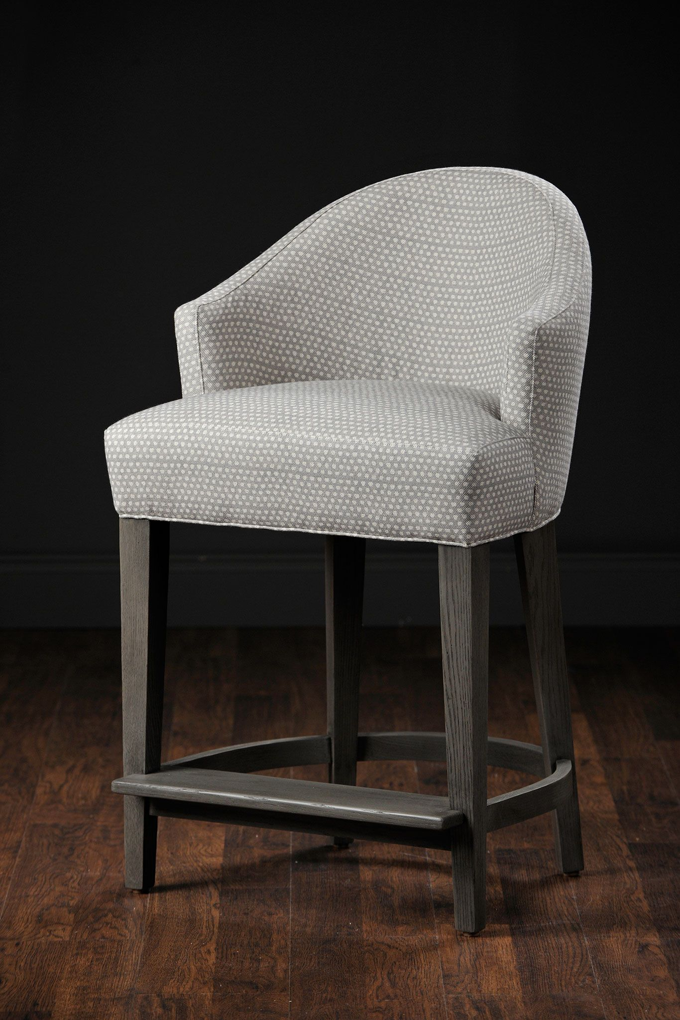 Wendy upholstered counter stool in cotton and linen grey and cream dotted fabric with smoke finish