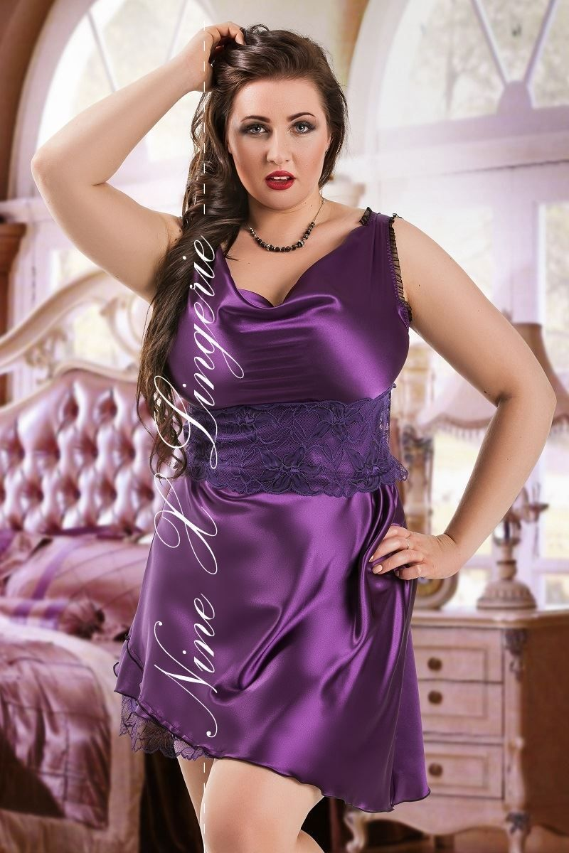 Nine X Ladies Satin Plus Size Babydoll Dress S-6XL Nightwear underwear