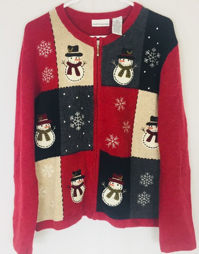 croft and barrows womens large cardigan ugly christmas sweater zippered snowmen - Ebay Ugly Christmas Sweater