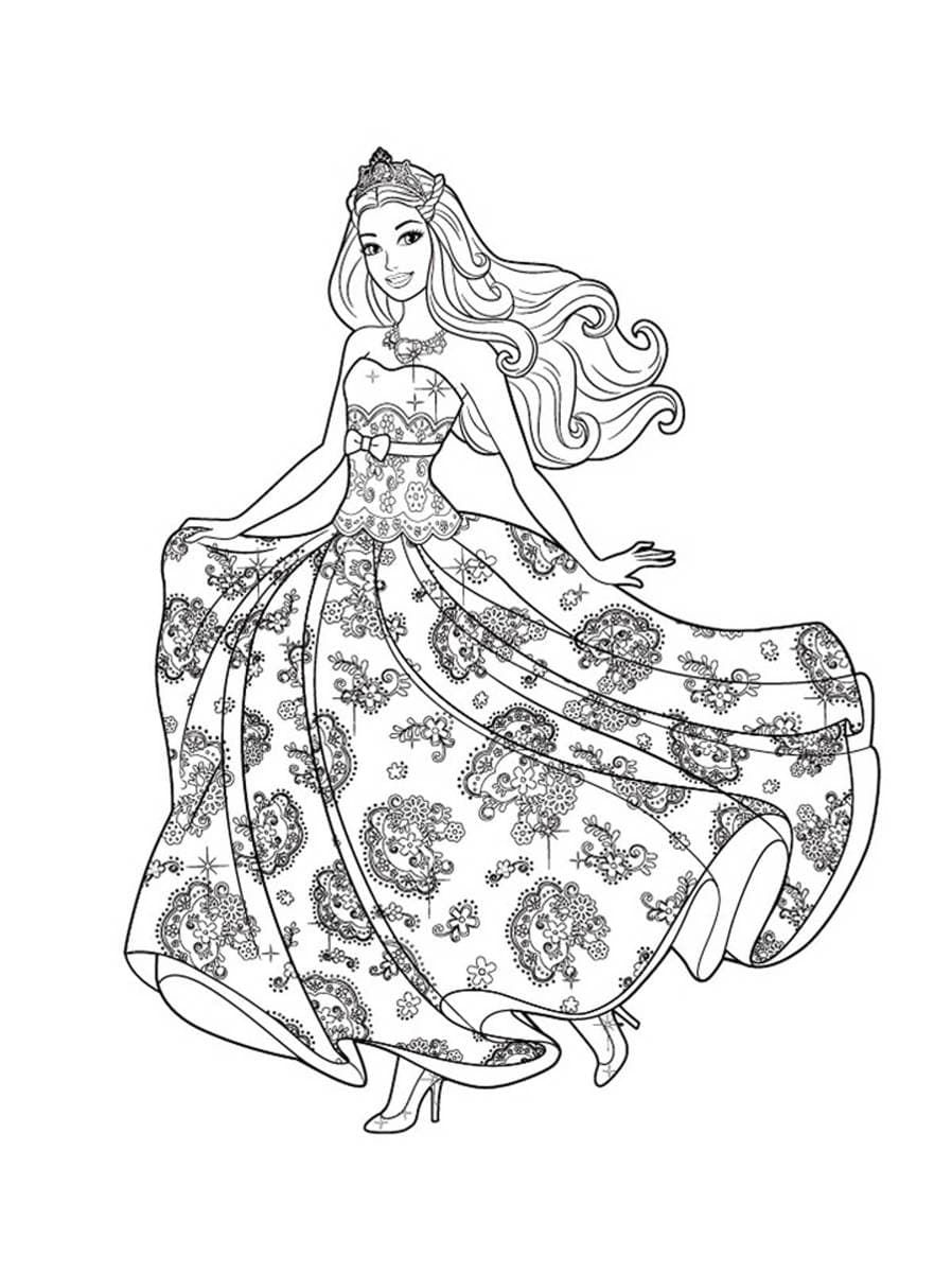 Классные раскраски «Кукла Барби в пышном красивом платье ...
