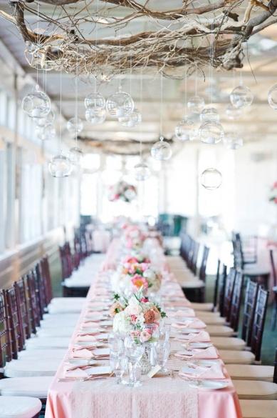 branch chandelier + pink linens