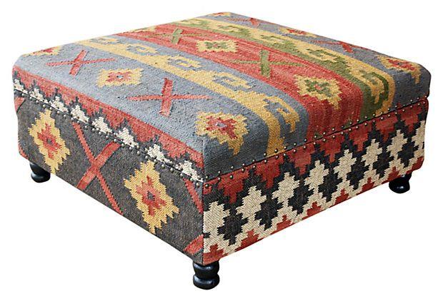 Phenomenal Helena Kilim Upholstered Storage Ottoman On Onekingslane Com Andrewgaddart Wooden Chair Designs For Living Room Andrewgaddartcom