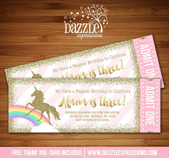 Printable Pink And Gold Glitter Unicorn Ticket Birthday Invitation