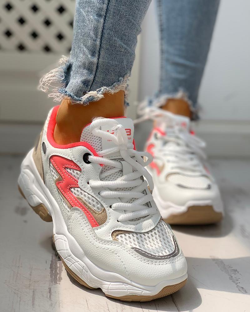 Colorblock eyelet laceup platform sneakers en 2020