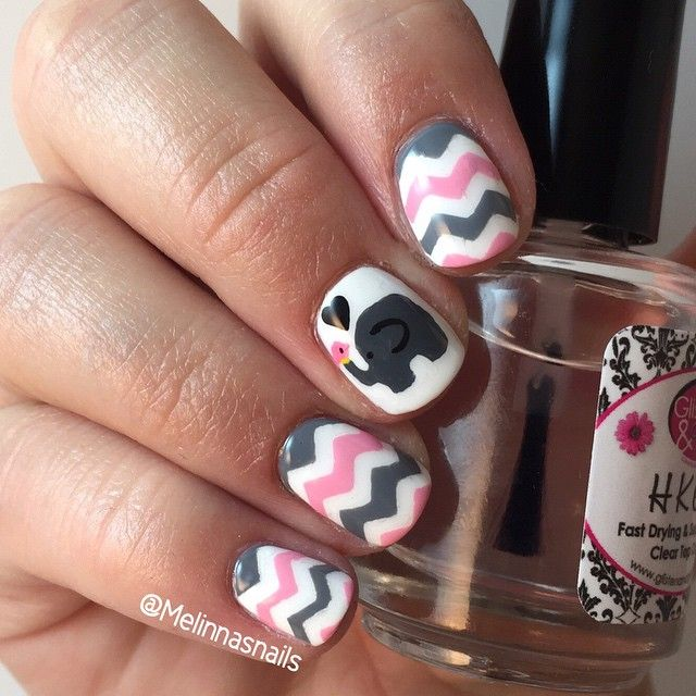 Cutesy elephant nails inspired by @ilovemymani I used chevron nail ...