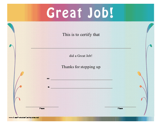 this multicolored certificate thanks the recipient for stepping up