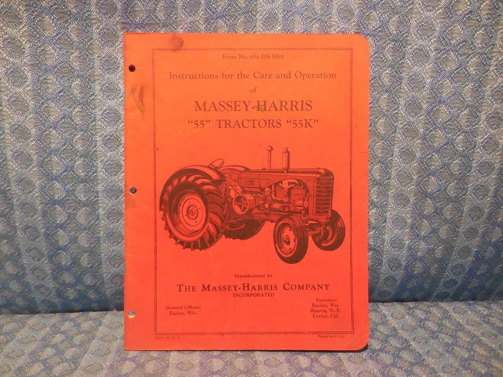 MasseyHarris   K Tractors Inst Care  Operation