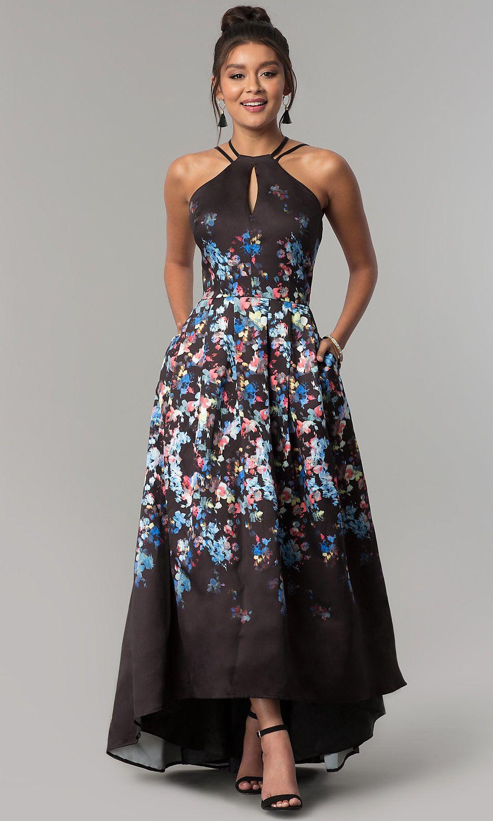 Highlow floralprint long prom dress with pockets