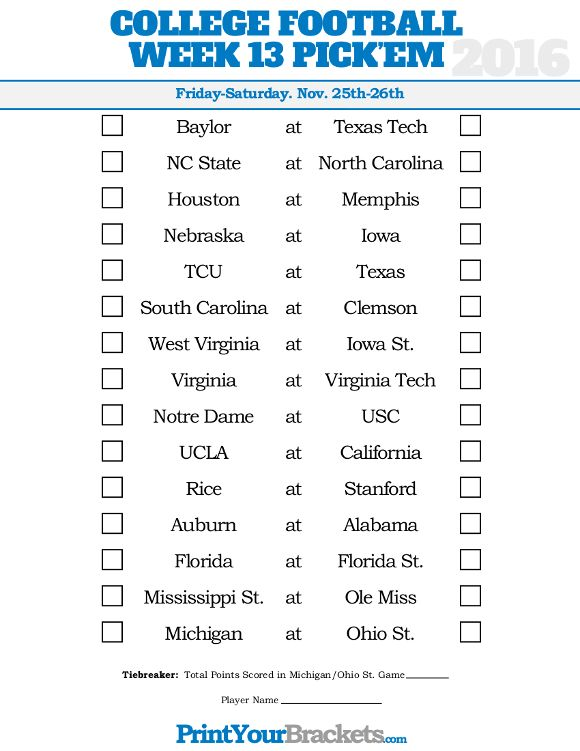 Week 13 College Football Picku0027em Sheet College Football Picku0027em - football pool template