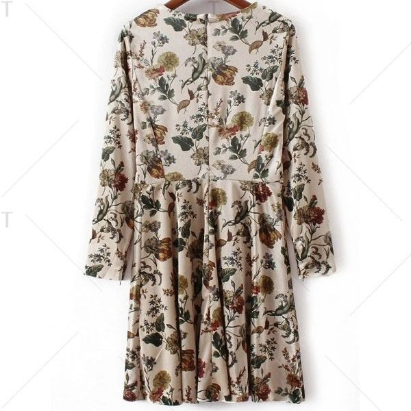 Floral Print Long Sleeve Velvet Skater Dress ($21) ❤ liked on Polyvore featuring dresses, long-sleeve velvet dresses, long sleeve skater dress, brown dress, velvet skater dress and long sleeve velvet dress