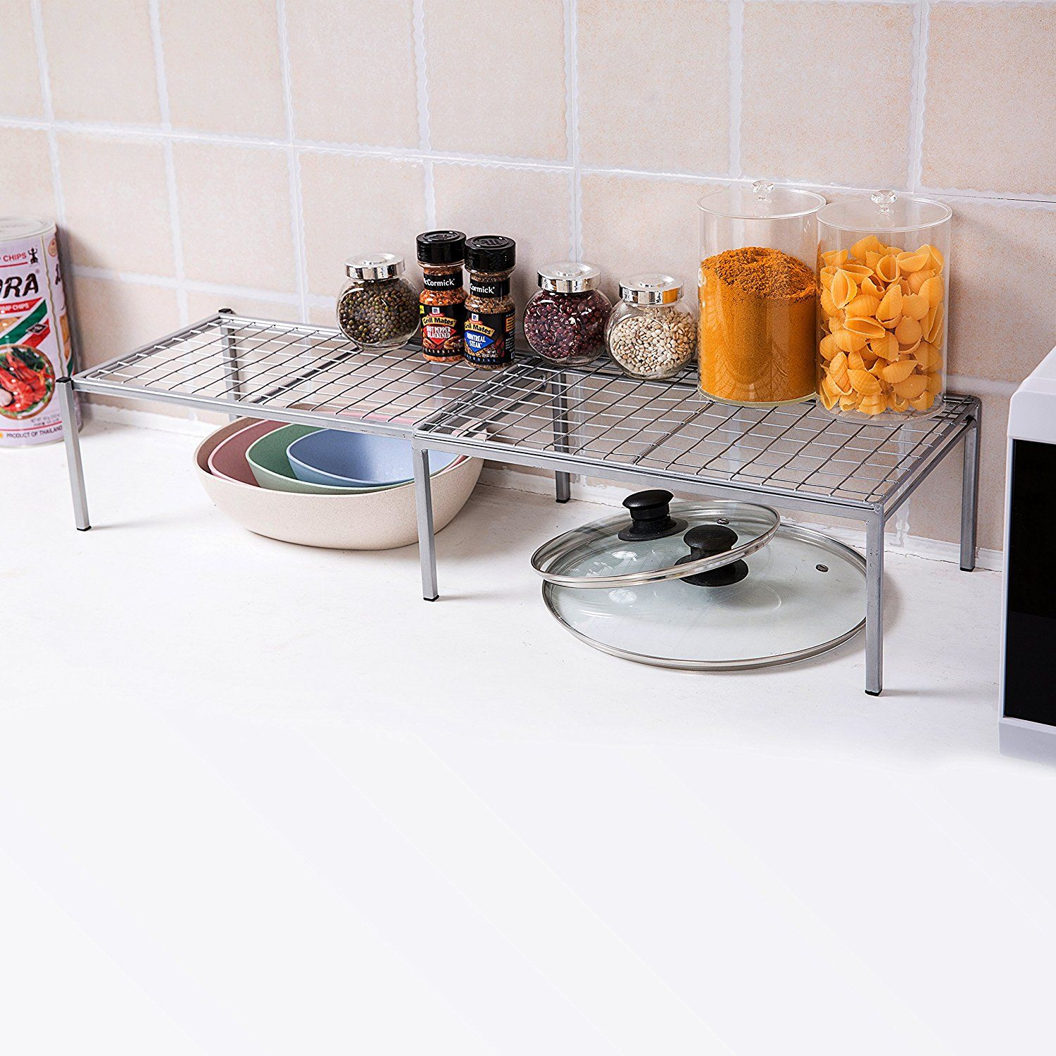 Amazon Com Expandable Metal Wire Frame Kitchen Counter Shelf