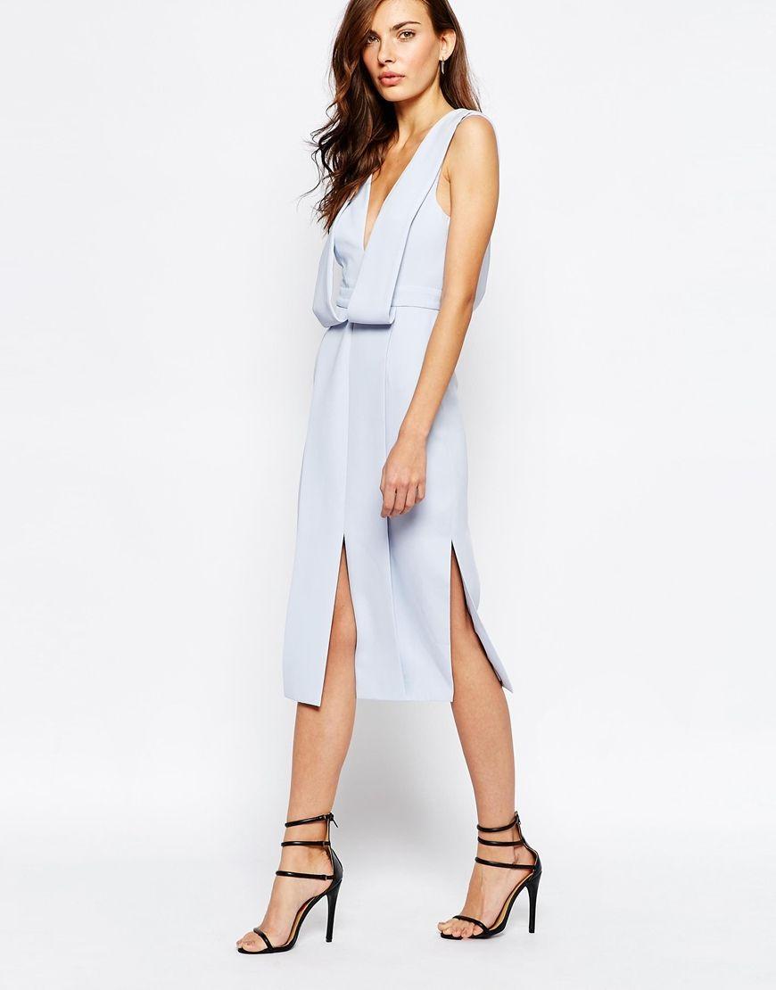 Keepsake Origami Midi Dress in Pastel Blue  Wedding Guest outfits ...