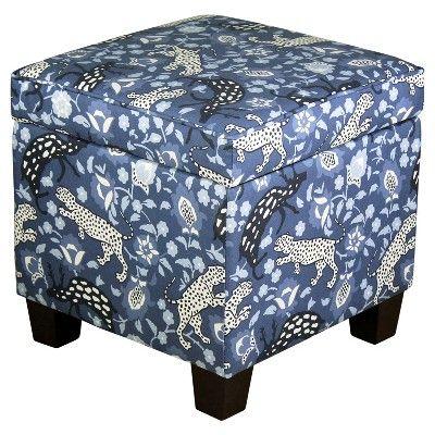 Stupendous Fairland Square Storage Ottoman Blue Leopard Threshold Ncnpc Chair Design For Home Ncnpcorg