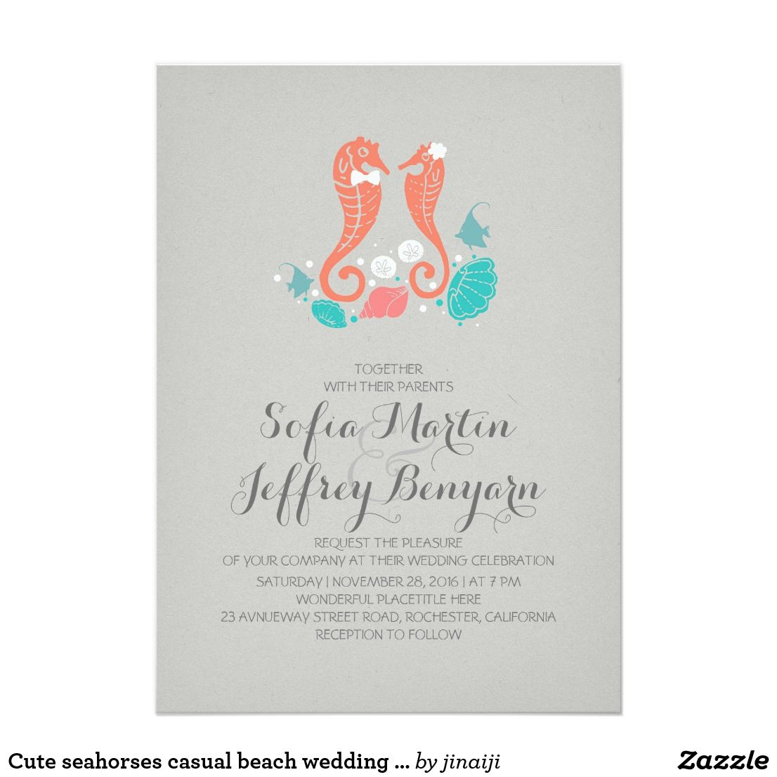 Cute seahorses casual beach wedding invitation | Pinterest | Groom ...