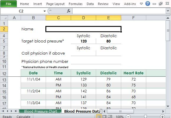 weight and blood pressure log