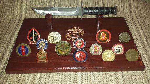 Marine Corps Ka-Bar display w/4 row coin holder by LarrysWoodworking