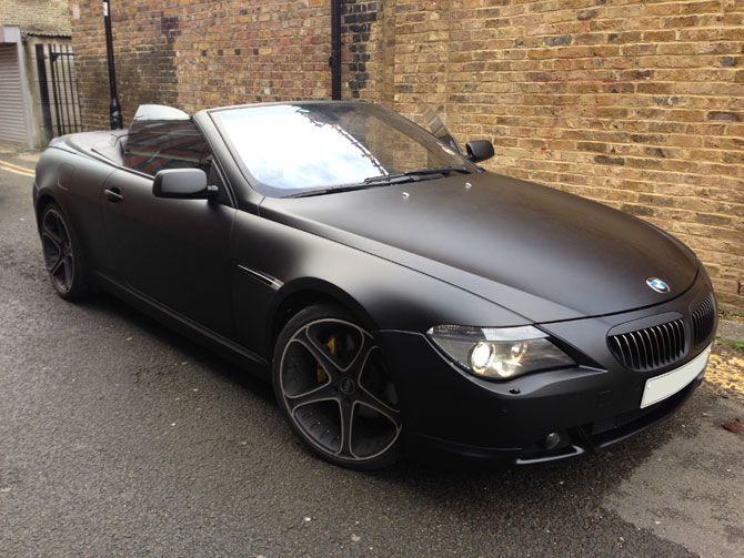 Bmw 645 Wrapped Matte Black With Images Bmw Matte Black Bmw