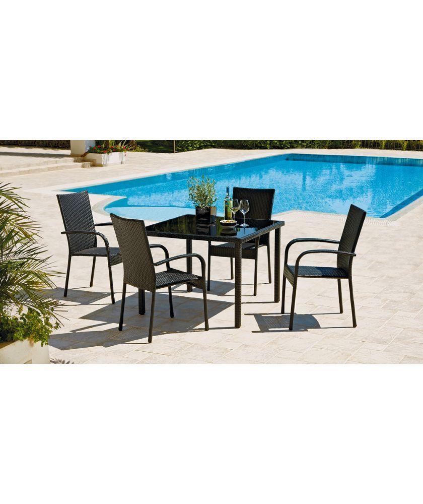 Buy Lima 4 Seater Patio Furniture Dining Set - Black at Argos.co.uk ...