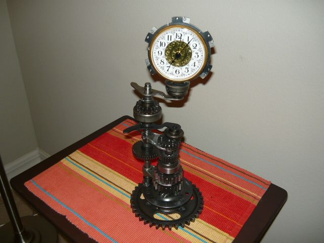 Steampunk Desk Clock Made From Used Car Truck Motorcycle And