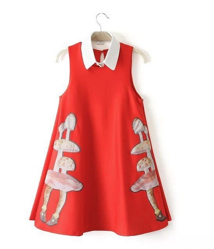 European Style Blended Cartoon Mushroom Pattern Lapel Dress Women Tall Waist Jumper Skirt
