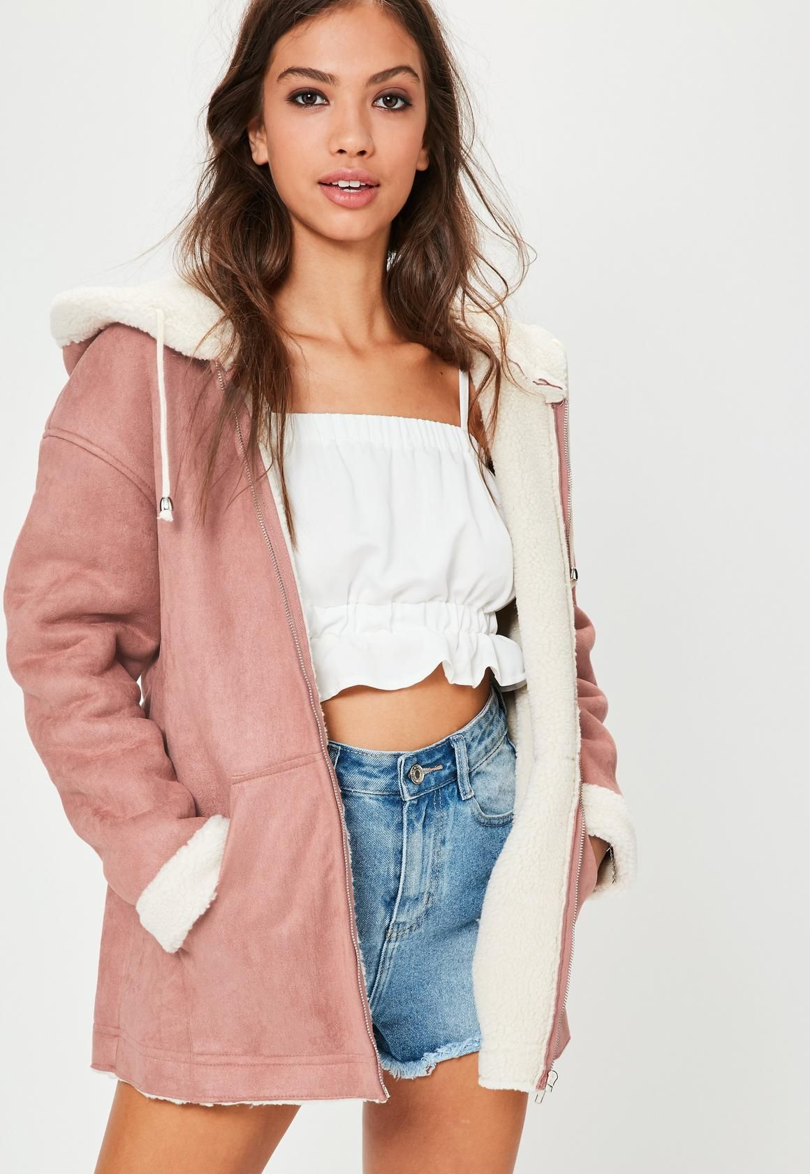 Missguided - Pink Zip Through Faux Shearling Jacket | missguided ...
