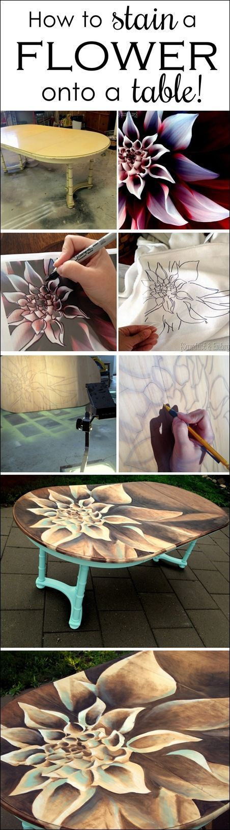 How to's : Use WOOD STAIN to create artwork on furniture! Tutorial and time-lapse video…