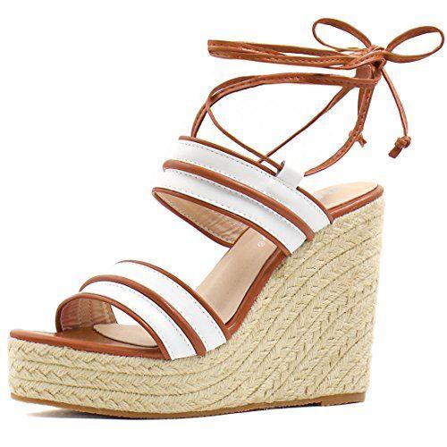f00fa872335 Allegra K Women Striped Ankle Tie Espadrille Lace Up Platform Wedge ...