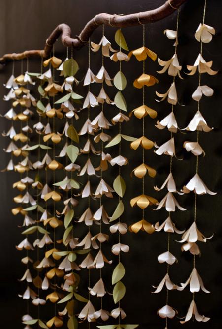 DIY Paper Flower Garland from Ellinee