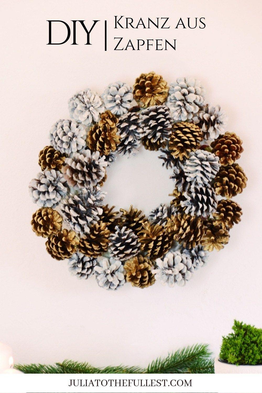 einfacher kranz aus zapfen f r weihnachteliche deko selber machen basteln pinterest. Black Bedroom Furniture Sets. Home Design Ideas