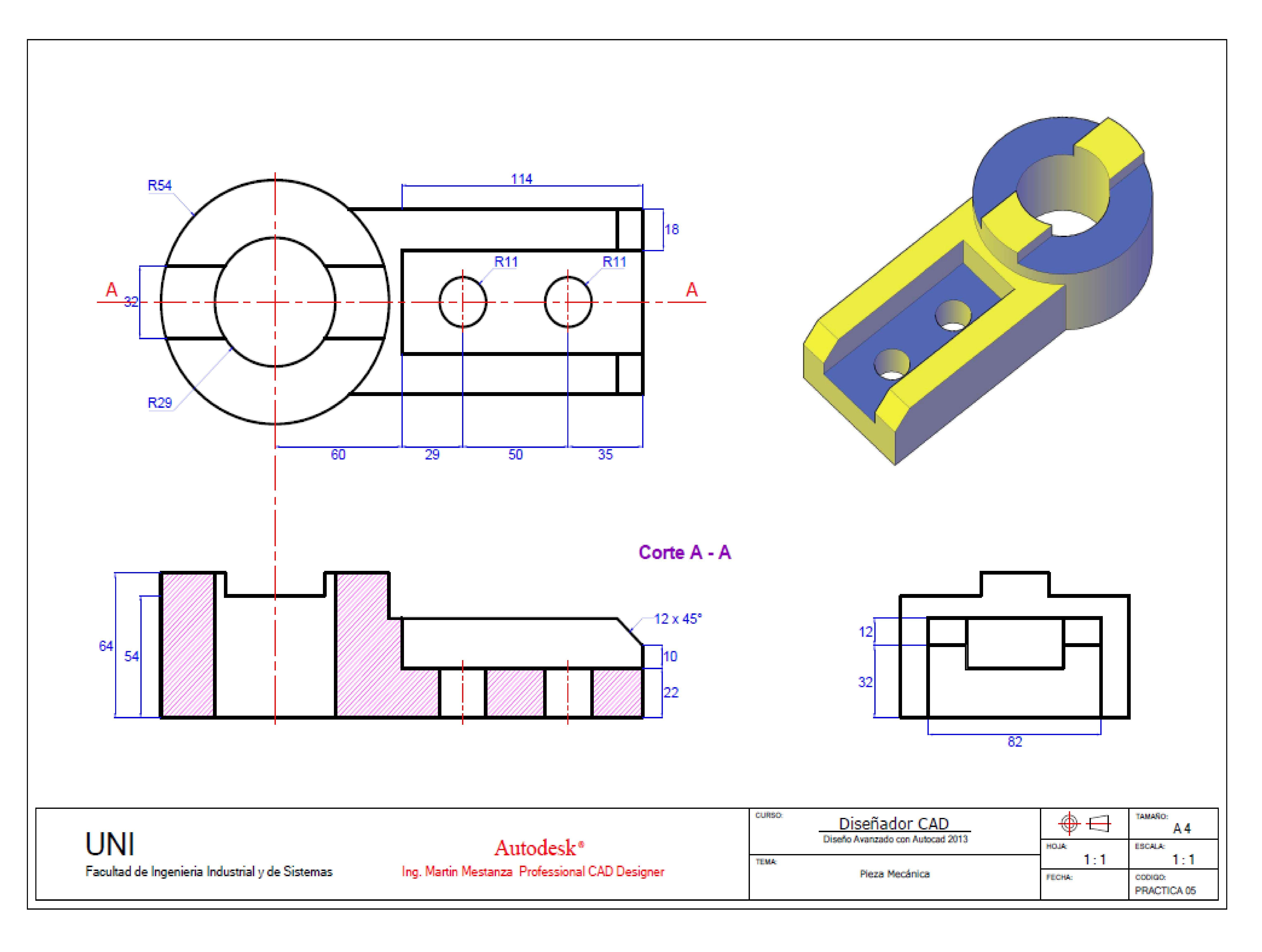Practica De Clase Autocad 3d N 5 Para El 15 De Diciembre Solidworks Tutorial Autocad Technical Drawing