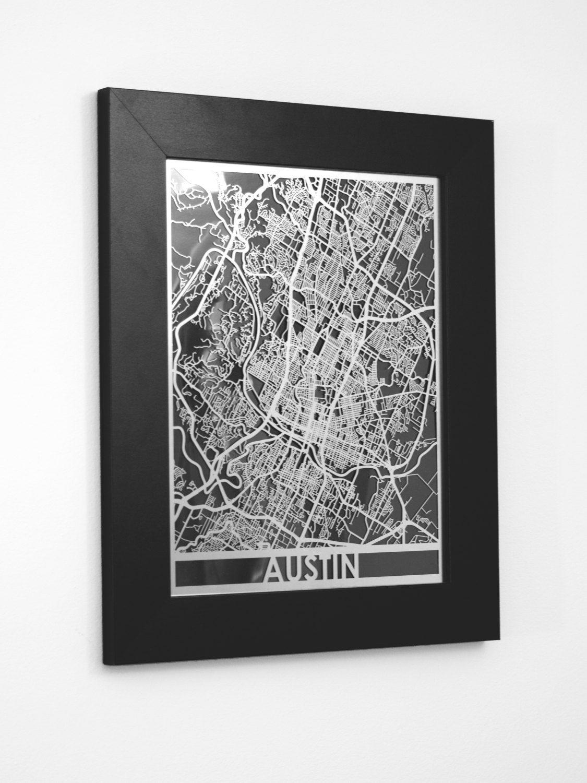 "Framed Metal Wall Art austin - 11x14"" framed stainless steel laser cut map | metal wall"