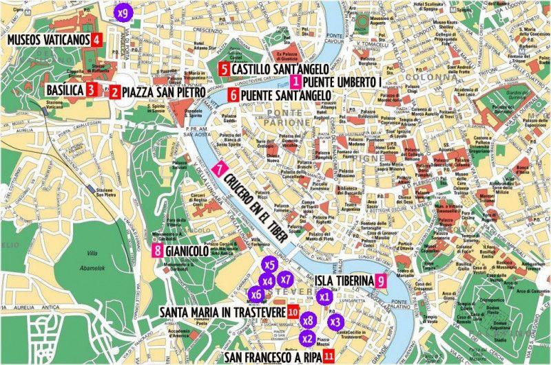 Mapa De Roma Pdf.Imprimir Italia Lugares De Interes Mapa Monumentos Pdf
