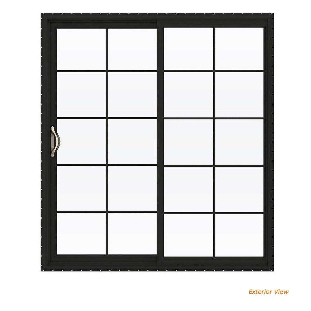 Jeld Wen 72 In X 80 In V 2500 Series Bronze Finishield Vinyl Left Hand 10 Lite Sliding Patio Door W White Interior Thdjw181500175 Sliding Patio Doors Exterior Patio Doors Patio Doors