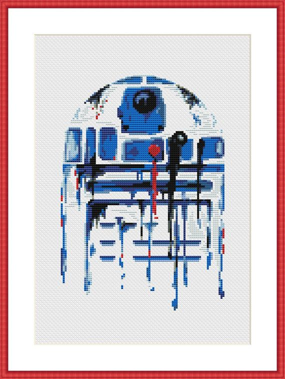 Star Wars Cross Stitch PDF pattern R2D2 Watercolor | Punto cruz ...
