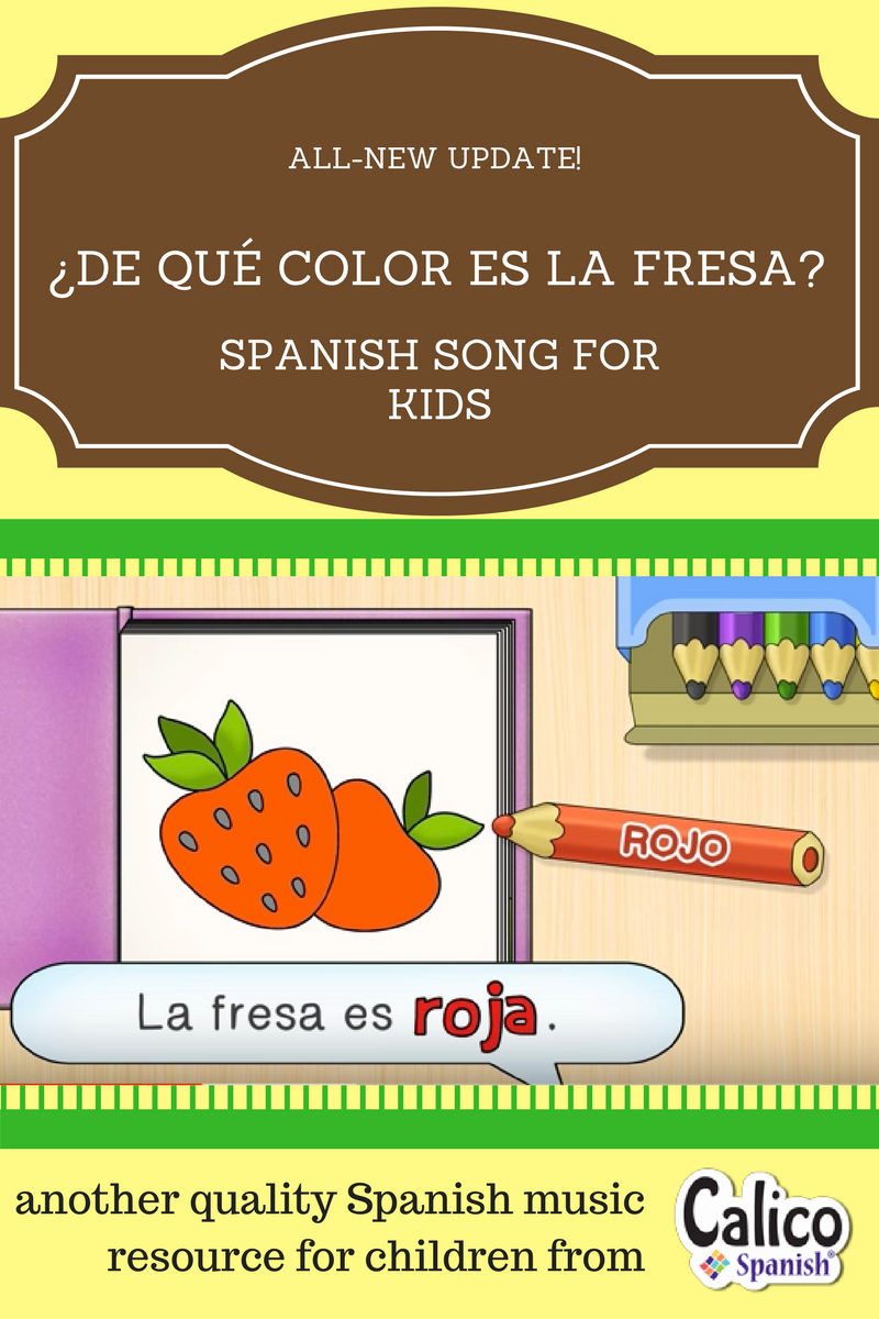 """Help children learn to ask and answer the question """"What color is it?"""" in Spanish with this all-new update to a Calico Spanish song."""