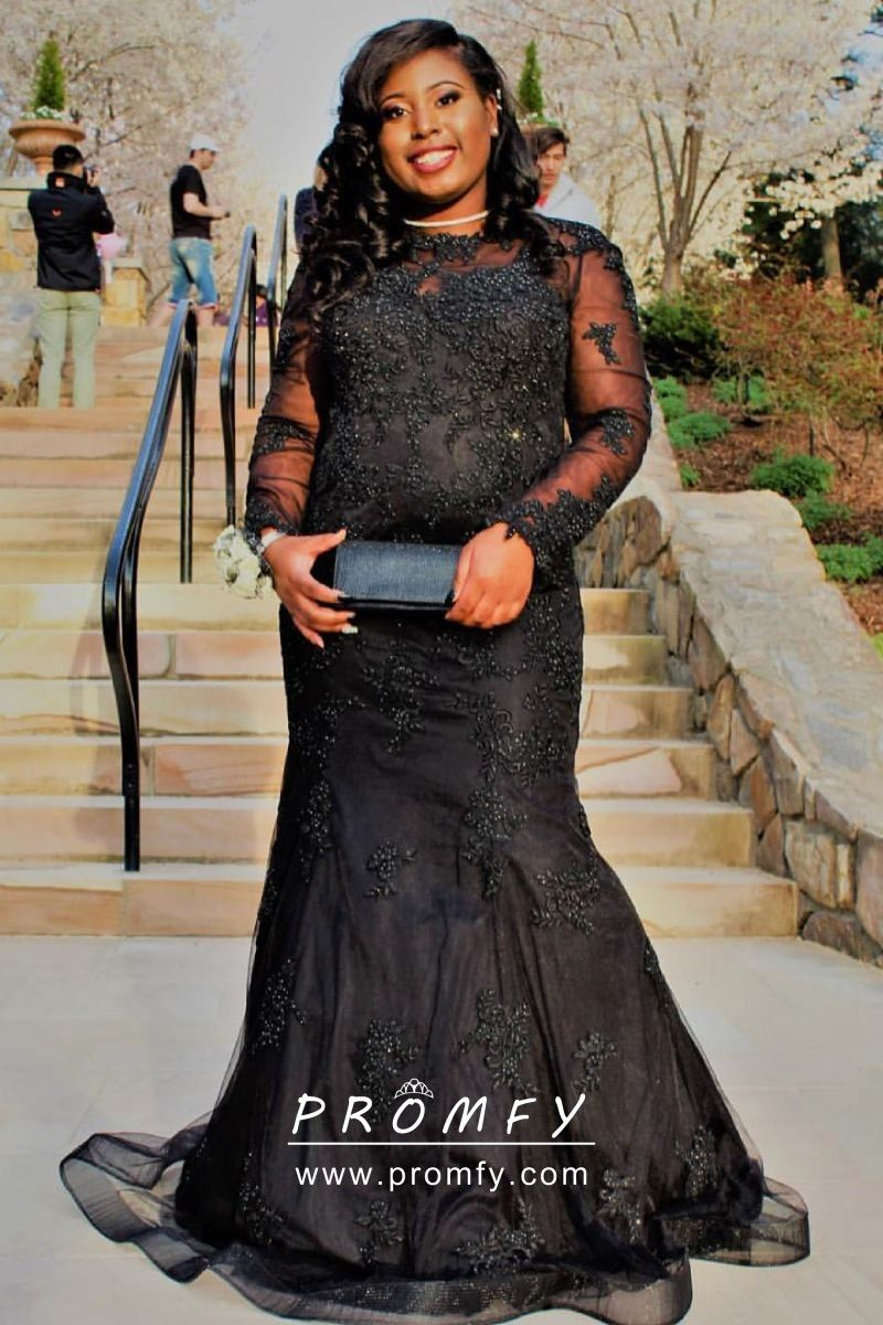 0510776956b5d Beaded Black Long Sleeve Mermaid Long Plus Size Prom Formal Dress ...