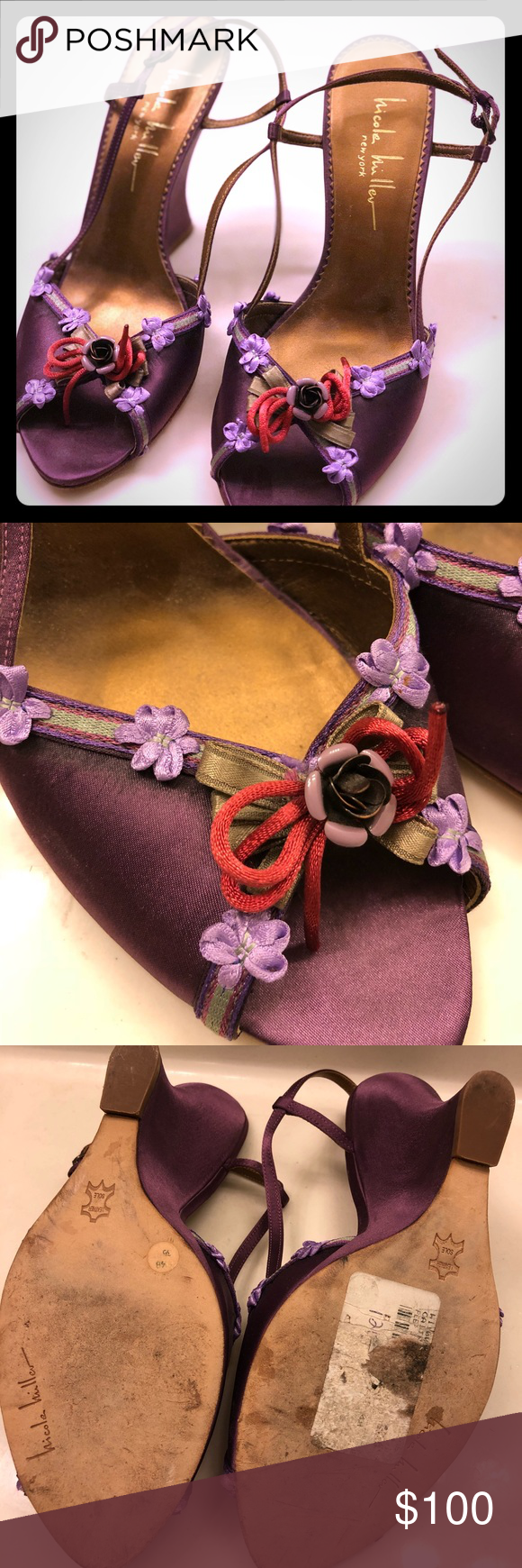 Nicole Miller Floral appliqué Wedges (With images